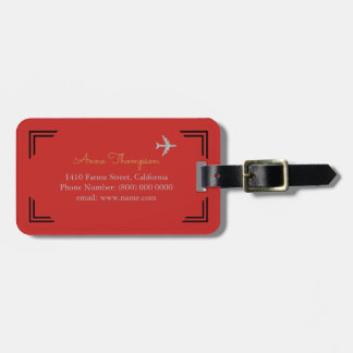 basic & elegant red luggage tag