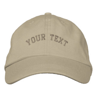 Basic Embroidered Khaki Cap Text Template Embroidered Hats