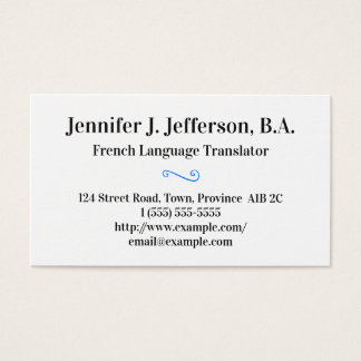 Basic French Translator Business Card