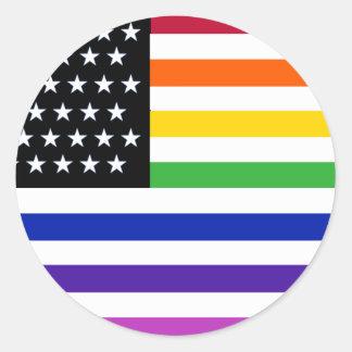 Basic Gay US Flag Crop Classic Round Sticker