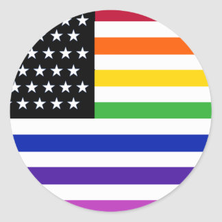 Basic Gay US Flag Crop Round Sticker
