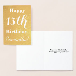 Basic Gold Foil 13th Birthday + Custom Name Foil Card