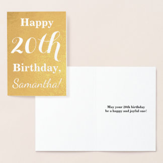 Basic Gold Foil 20th Birthday + Custom Name Foil Card