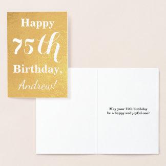Basic Gold Foil 75th Birthday + Custom Name Foil Card