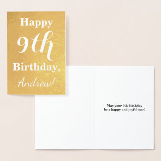 Basic Gold Foil 9th Birthday + Custom Name Foil Card