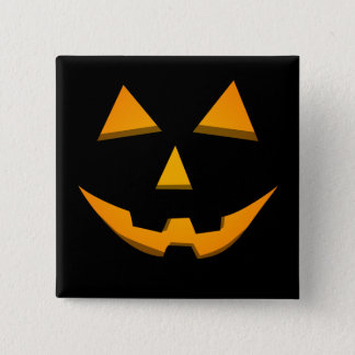 Basic Jack-O-Lantern Black W/Orange Glow 2 Inch Square Button