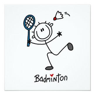 "Basic Male Stick Figure Badminton 5.25"" Square Invitation Card"