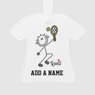 Basic Male Stick Figure Tennis Player Ornament