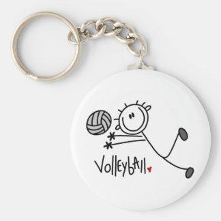 Basic Male Stick Figure Volleyball Basic Round Button Keychain
