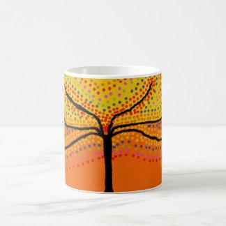 basic mug with bright orange dotty tree design