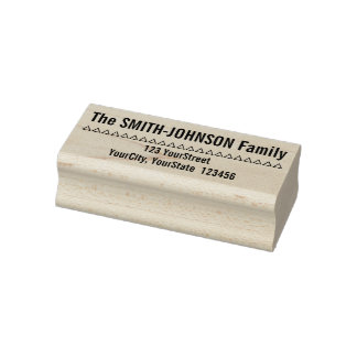 Basic Personalized Family Name Plus Address Rubber Stamp
