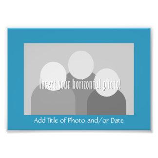 Basic Photo Frame with Title - Aqua Teal Blue