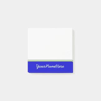 Basic, Plain, Blue Background + Light Cyan Name Post-it Notes