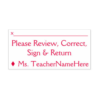 """Basic """"Please Review, Correct, Sign & Return"""" Self-inking Stamp"""