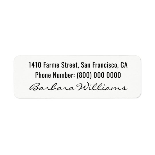 basic, signed with name at the bottom, white return address label