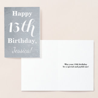 Basic Silver Foil 13th Birthday + Custom Name Foil Card
