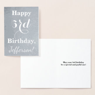 Basic Silver Foil 3rd Birthday + Custom Name Foil Card