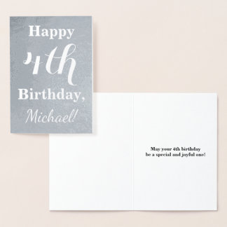 Basic Silver Foil 4th Birthday + Custom Name Foil Card