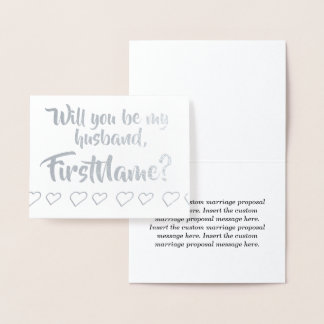 Basic Silver Foil Marriage Proposal Card
