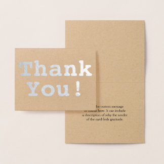 "Basic Silver Foil ""Thank You!"" Card"