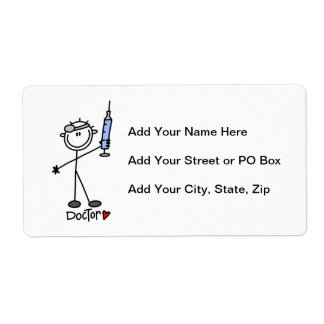 Basic Stick Figure Doctor Shipping Label