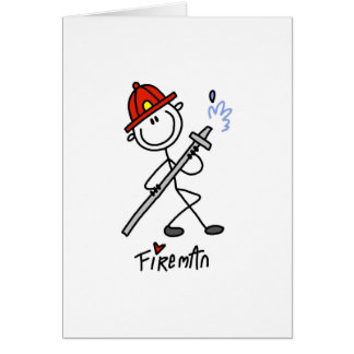 Basic Stick Figure Fireman T-shirts and Gifts Card