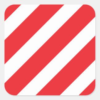 Basic Stripe Red Square Sticker