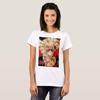 Basic t-shirt featuring a golden Venetian mask