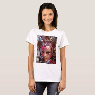 Basic t-shirt featuring a pink Venetian mask