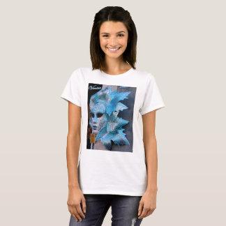 Basic t-shirt featuring a silver-blue Venetian mas