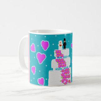basic white mug pink/blue with wedding cake design