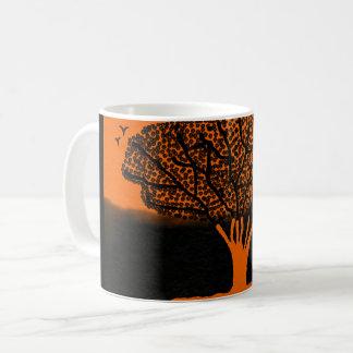 basic white mug with bold orange black design