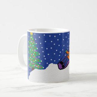 basic white mug with christmas design