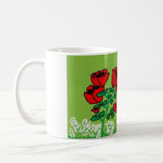 basic white mug with colourful flower design