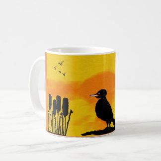 basic white mug with sunset silhouette of bird