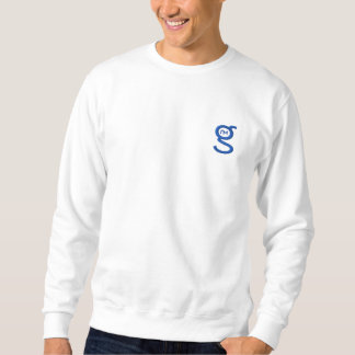 Basic White Sweatshirt w Blue Embroidered Logo