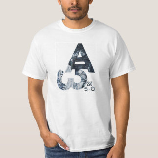 "Basic White tee-With ""Alpha-Omega"", ""DjJ 5-0"" logo T-Shirt"