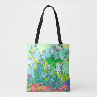 Basil Herb Garden Watercolor Tote Bag