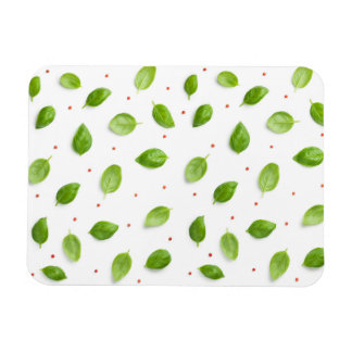 Basil Leaves with Peppercorns Isolated on White Magnet
