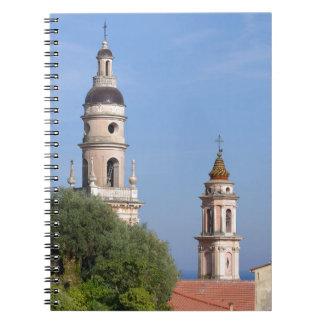 Basilica at Menton in France Spiral Notebook