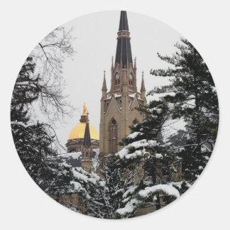 Basilica in the Snow Classic Round Sticker