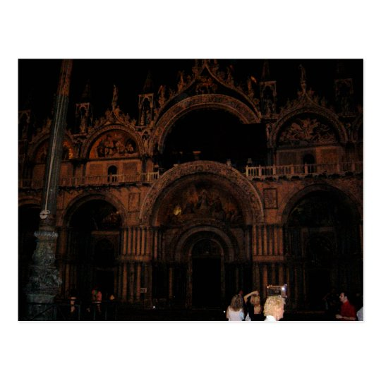 Basilica, St. Mark's Square, Venice at Night Postcard
