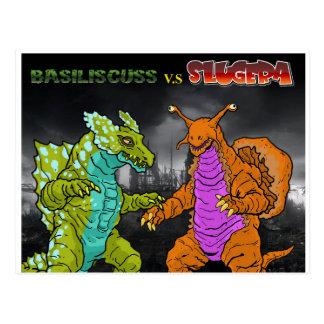Basiliscuss v.s Slugera Postcard
