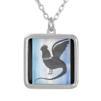 Basilisk on Blue Silver Plated Necklace