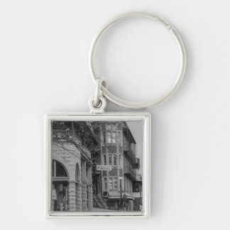 Basin Park And Flatiron Flats Grayscale Silver-Colored Square Keychain