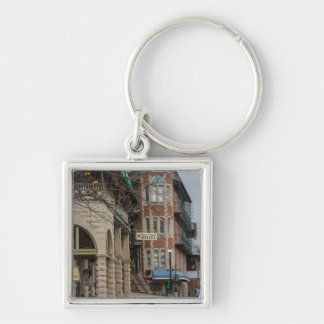 Basin Park And Flatiron Flats Silver-Colored Square Keychain