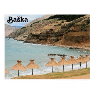 Baska, island Krk, Croatia, postcard