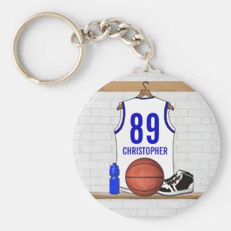 Basket-ball bleu blanc personnalisé Jersey Porte-clef