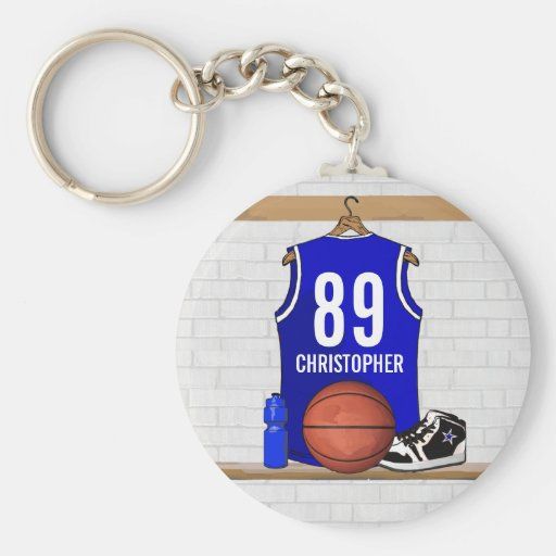 Basket-ball bleu personnalisé Jersey Porte-clé
