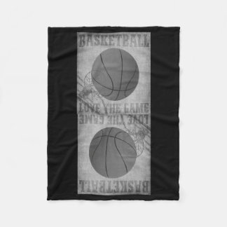Basket Ball Love The Game in Black and White Fleece Blanket